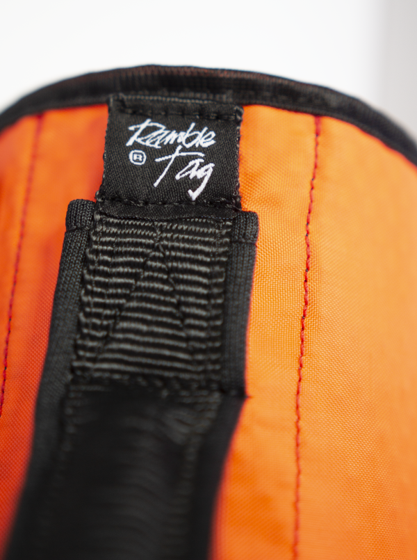 close up showing ramble tag logo patch