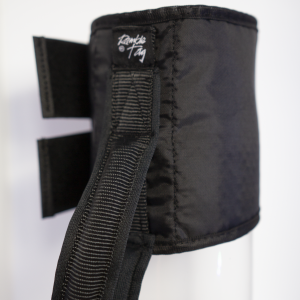 Black original Tag. Loop handle with Velcro straps and stylish logo