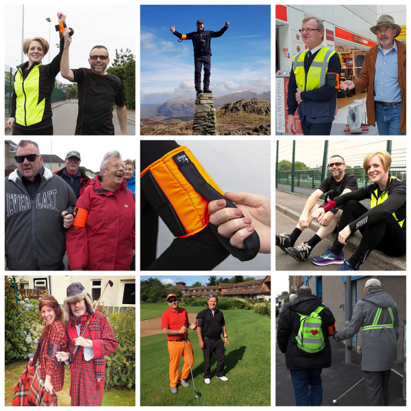 collage of various users, mountain climbers, assistance staff, golfers, runners and walkers