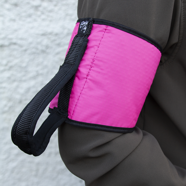 Pink original ramble tag on upper arm of a guide