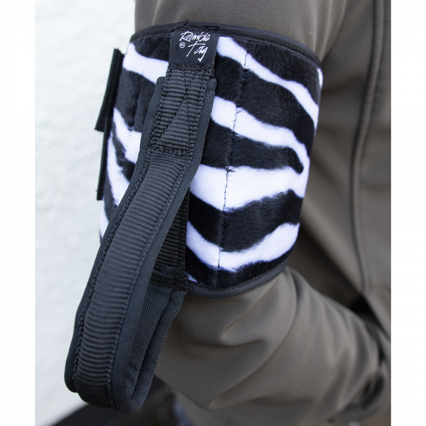 The furry feel zebra. Original ramble tag with loop handle