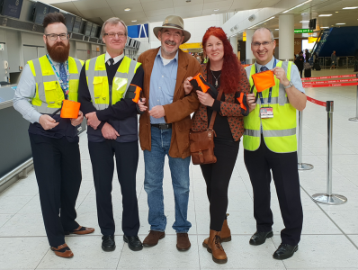 glasgow airport staff with us, introducing the new guidance aid to the first ever airport